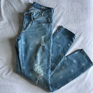GAP Always Skinny distressed polka dot light jeans